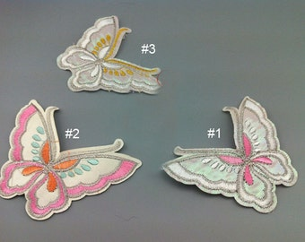 5pcs 9.5x8cm wide ivory pink butterflies pocket embroidered appliques patches 325j71 free ship