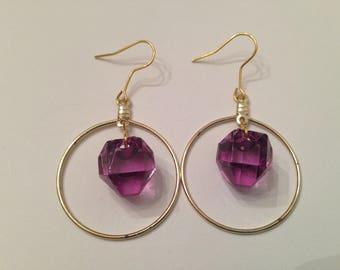 Beaded Hoop Earrings, Beaded Dangle Earrings, Gold Hoop Earrings, Purple Hoop Earrings, Clear Bead Hoop Earrings