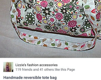 Handmade reversible tote bag