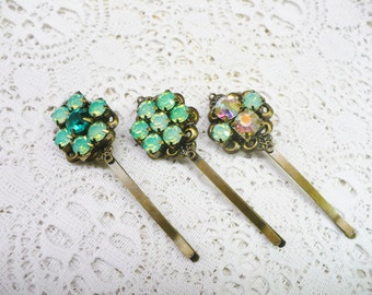 Three (3) Vintage Green Opalescent/AB RHINESTONE Bobby Pins - Bronze tone metal -Filigree bobbies - Opalescent green - Irish Wedding - gift