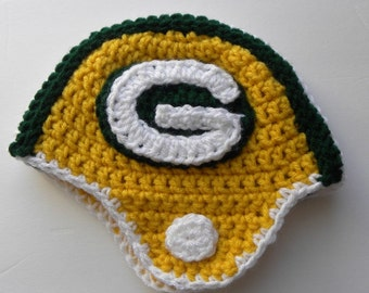 CROCHET PATTERN Green Bay Packers Crochet Helmet w/permission to sell finished items