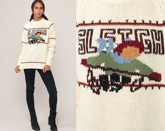 Winter Sweater Knit SLEIGH 80s Ski Sweater Retro Boho Nordic 1980s Slouchy Vintage Hipster Raglan Sleeve Cream Pullover Large