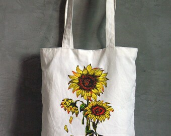 Sunflower Canvas Bag, Grocery Bag, Screen printed bag, Reusable Tote Bag, Shoulder purse