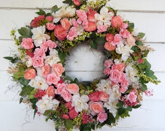 "Delicious Spring Silk Floral Wreath""Candy Kisses""Front Door Wreath, Centerpiece, Flower Wreath, Wedding Decor, Year Round Wreath"