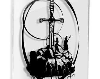 Excalibur Caliburn Merlin artwork King Arthur Legendary Sword in Stone Round table Camelot geek artwork geek gift papercut FRAMED