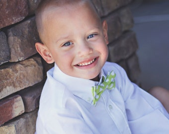 Boy's Bow Tie Lime Green Polka Dots