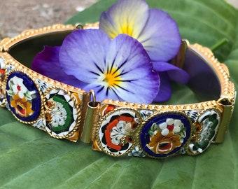 Vintage Micro Mosaic Bracelet Gold Floral