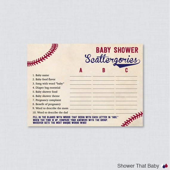 Baseball Baby Shower Scattergories Game Printable Download