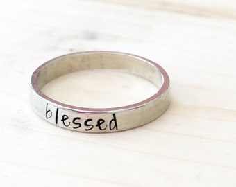 Stacking rings - Stamped ring - Custom ring - Name ring - Hand stamped rings - Personalized rings - Mommy rings - Kids names on rings