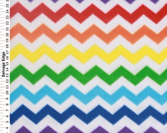 Chevron Fleece Fabric, Zigzag Fleece Fabric, Decorative Fabric, Red/Blue/Coral Orange/Mustard Yellow/Purple/Turquoise/Green, Fabric Yardage