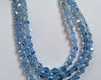 Vintage Blue Aurora Borealis Crystal Necklace * 3 Strand Crystal Necklace
