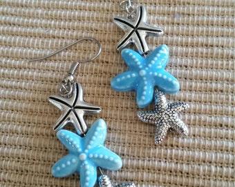 Powder Blue Starfish Earrings