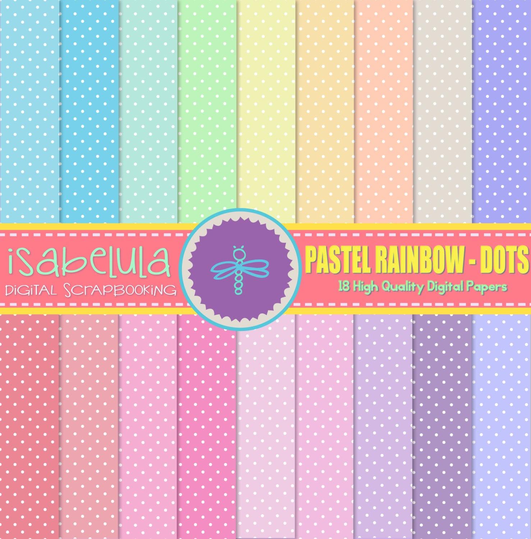 Papeles Digitales de Colores del Arco Iris en Tonos Pastel