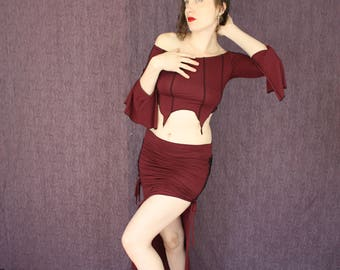 Long Sleeve Verticle Striped Belly Top in Organic Port Red Bamboo Fabric, The Color of Passion, Belly Dance Delight
