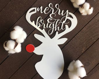 Red Nosed Reindeer Metal Sign - Christmas Metal Home Decor