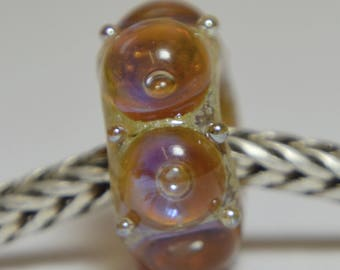 Unique Handmade Lampwork Glass European Charm Bead - SRA - Fits all charm bracelets - Silver Core Options