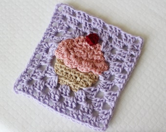 Crochet Cupcake Granny Square PATTERN: Bake Shop Blanket Series pdf instant digital download