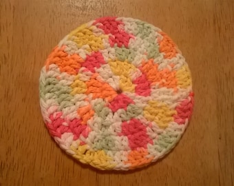 Crocheted Coaster, Handmade, Mug Rug, Absorbent, Durable, Variety of Colors, Cotton, Fits Any Mug, Washable and Dryable