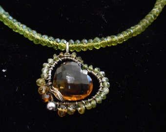 "Heart of Gold - 16"" Cognac Quartz with Tourmaline and Vesuvianite Bead Necklace with Sterling Silver Clasp"