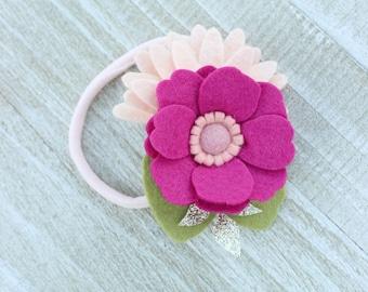 Felt Flower Headband, Pink Flower Headband, Floral Crown, Felt Floral Crown, Felt Flower Hair Clip, Felt Hair Accessories, Floral Crowns