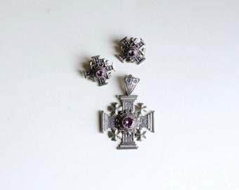 1940s Jerusalem Crusaders Cross 900 silver pendant earring set / 40s vintage heavy silver religious cross clip ons with purple amethysts