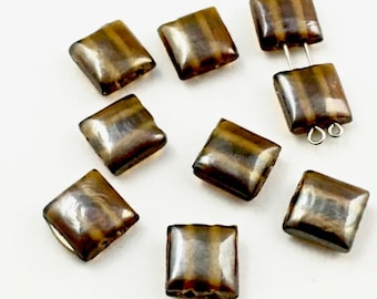 9 glass beads with double drilled holes,12mm #PV088