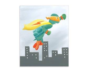 Turtle Super Hero Art Print - Superhero Nursery Art