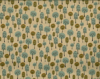 TREES blue green beige background fabric