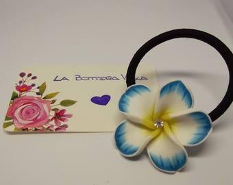Elastic hair bracelet Flower paste Polymer blue white rhinestone Ear Tie bangle
