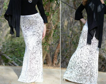 White Maxi Sequin Skirt - Gorgeous high quality dangly sequins. Limited quantity.