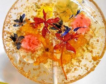 GIANT FLOWER LOLLIPOPS Gold Base Fresh Organic Orchids Bachelor Button Florets ,Violas  Cucumber Blossoms Edible Wedding Favors, Mothers Day