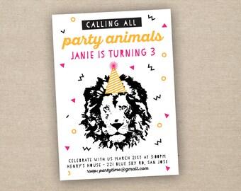 party animal invitation, party animal birthday invitation, printable invitation