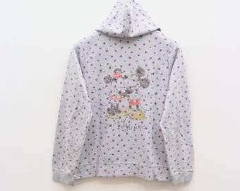 Vintage MICKEY Loves MINNIE Cute! Sweet Love Forever Walt Disney Cartoon Gray Hoodies Sweater Sweatshirt Size M