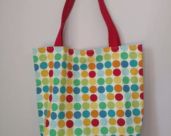 Medium Canvas Tote Bag - Multi-Colored Polka Dots Pattern