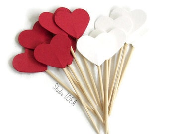 24 Dark Red & White double-sided Heart 1in Cupcake Toppers, Food Picks or CHOOSE YOUR COLORS - Set of 24 pcs