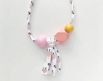 THE MAE Cloud Tassel modern girls necklace, kids necklace, petite handpainted wooden bead necklace on fabric string
