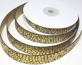 By the Metre Metallic Gold or Silver Snake Print Ribbon Snake Skin Shiny Metallic Print Ribbon Snake Skin Silver or Gold Ribbon