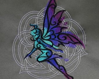 Celtic Fairy Pillow Cushion Cover Embroidered design decorative Pillow Fairy Faery Faerie Fae