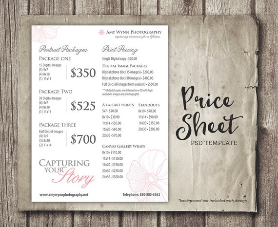 photography price sheet package pricing photographer price list