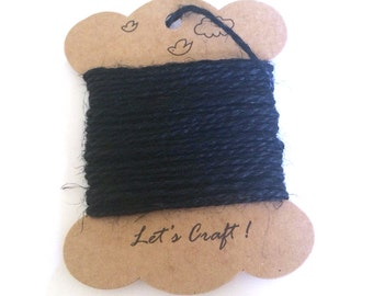 jute twine - 5 meters or 5.4 yards - craft gift wrapping twine - color hemp string - tag string - jute rope - burlap string - black color