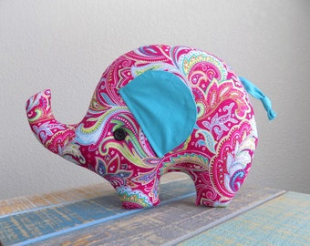 Elephant plush toy in Pink paisley, elephant stuffed toy, elephant nursery decor, girl elephant room decor, elephant pillow