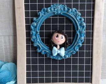 Doll blue door plaque