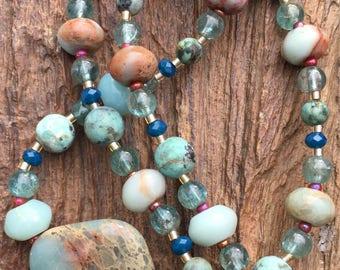 Opalized Jasper pendant necklace, Apatite necklace, African Blue Opal necklace, African Turquoise necklace