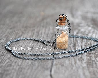 Small bottle with real shells in sand with gun metal necklace/Nature inspired jewelry/Terrarium jewelry/Bottle jewelry*