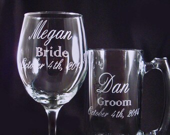 Personalized Etched Wine and Beer Mug Set - Custom Barglasses - Wedding Party Glassware - Custom Wine Glass - Anniversary Gift - Custom Beer