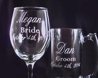 Chope de bière et de vin gravé personnalisé mis - Barglasses personnalisée - mariage partie verrerie - verre à vin personnalisées - cadeau d'anniversaire - bière personnalisé