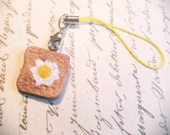 Polymer Clay egg on toast cell phone charm