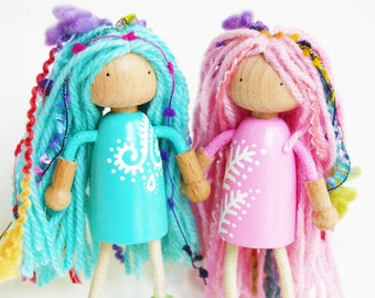 Spring Fern Fairy Twins - Set Of 2 - Bendable Arms and Legs -Unique Gift - Waldorf Style Pink and Blue  Bendy Peg Doll