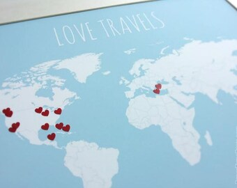 DIY Gift for Newlyweds, World Travel Map with Hearts, Traveler Gift, Mother's Day Gift, Keepsake Sentimental Gift, Travel Wall Decor 11x14