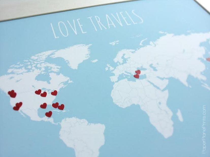 Diy gift for newlyweds world travel map with hearts traveler zoom gumiabroncs Image collections